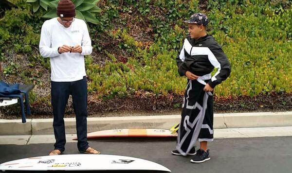 Keanu Asing and Nate Yeomans, prepping for a morning session with the WSL. San Clemente was the first stop on the WSL's road trip in honor of ISD 2015.