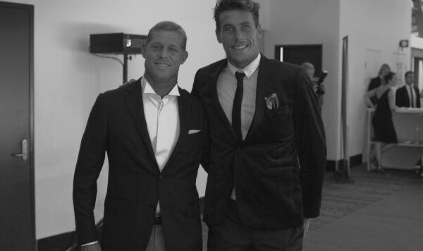 Three-time World Champ Mick Fanning and incoming CT rookie Jack Freestone share a moment before the WSL Awards. Photo: Sherman