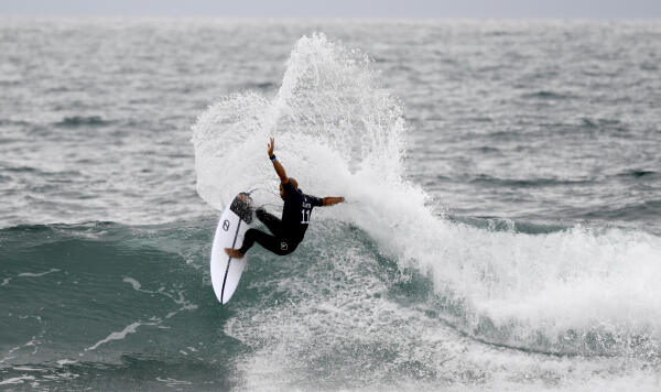 Kelly Slater surfing during Heat 2 of The Quarterfinals at The Hurley Pro Trestles