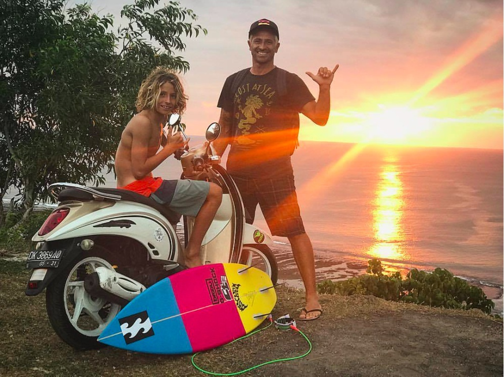 Ryan Kainalo with his father Alex Miranda in Bali