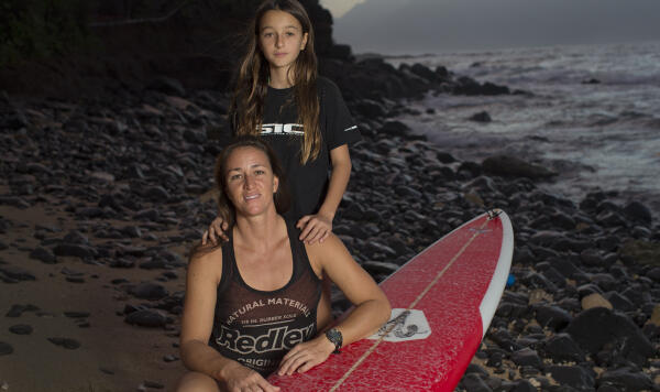 During her pregnancy, Moller couldn't wait to get back to training and surfing. She credits her daughter with teaching her to manage her time and become a professional waterwoman. Photo: Fred Pompermayer