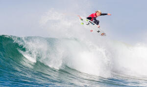 Kolohe Andino (USA) looks for a landing zone.