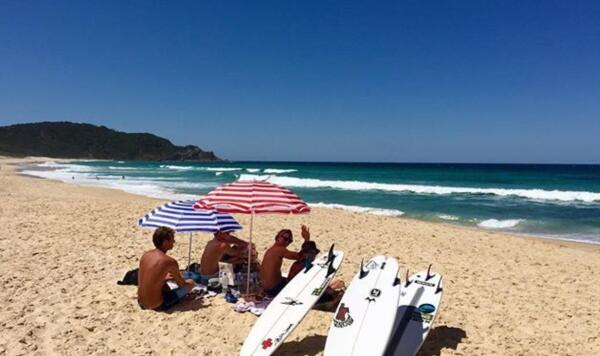 Taylor Clark, and brother Christian, Ian Crane, Josh Burke, and Kevin Schulz enjoying a day at Boomerang Beach, Australia captured by fellow competitor and friend Tyler Gunter.