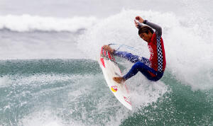Kanoa Igarashi in his opening heat of Junior Pros at the Vans U.S. Open of Surfing