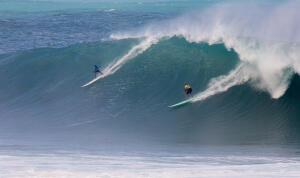 66-year-old Clyde Aikau charge Waimea