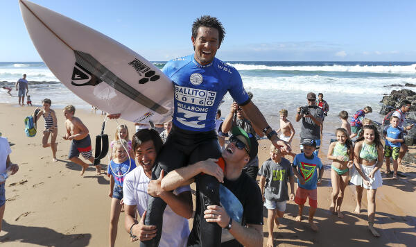Conner O'Leary is chaired up the beach as the 2016 Ballito Pro Presented by Billabong QS10000 WINNER.
