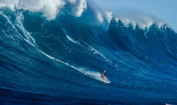 Bethany Hamilton caught the biggest wave of her life on Monday, January 4th, at Maui's legendary Pe`ahi. Photo: Aaron Lieber