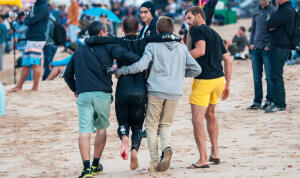 C.J. Hobgood injured his foot during a free surf at the Moche Rip Curl Pro.